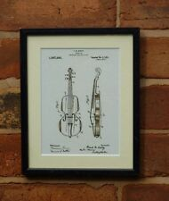 USA Patent Drawing vintage wood VIOLIN music instrument MOUNTED PRINT 1921 Gift