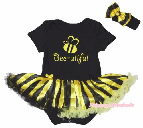 Bee-utiful Black Cotton Bodysuit Black Yellow Striped Baby Dress Set NB-18M