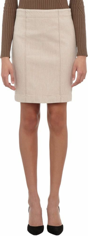 490 New THE ROW Onel Clay Natural Stretch Denim Pencil Straight Skirt Beige S
