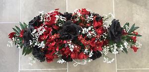 Details Zu Tischgestecktischdekoration Blumengesteck Hochzeit Taufe Bordeauxschwarz