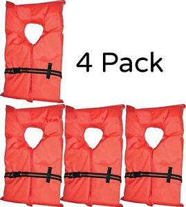 Life-Jacket-Vest-4-PACK-Preserver-Flotation-Type-II-Adult-Fishing-Boating-NEW