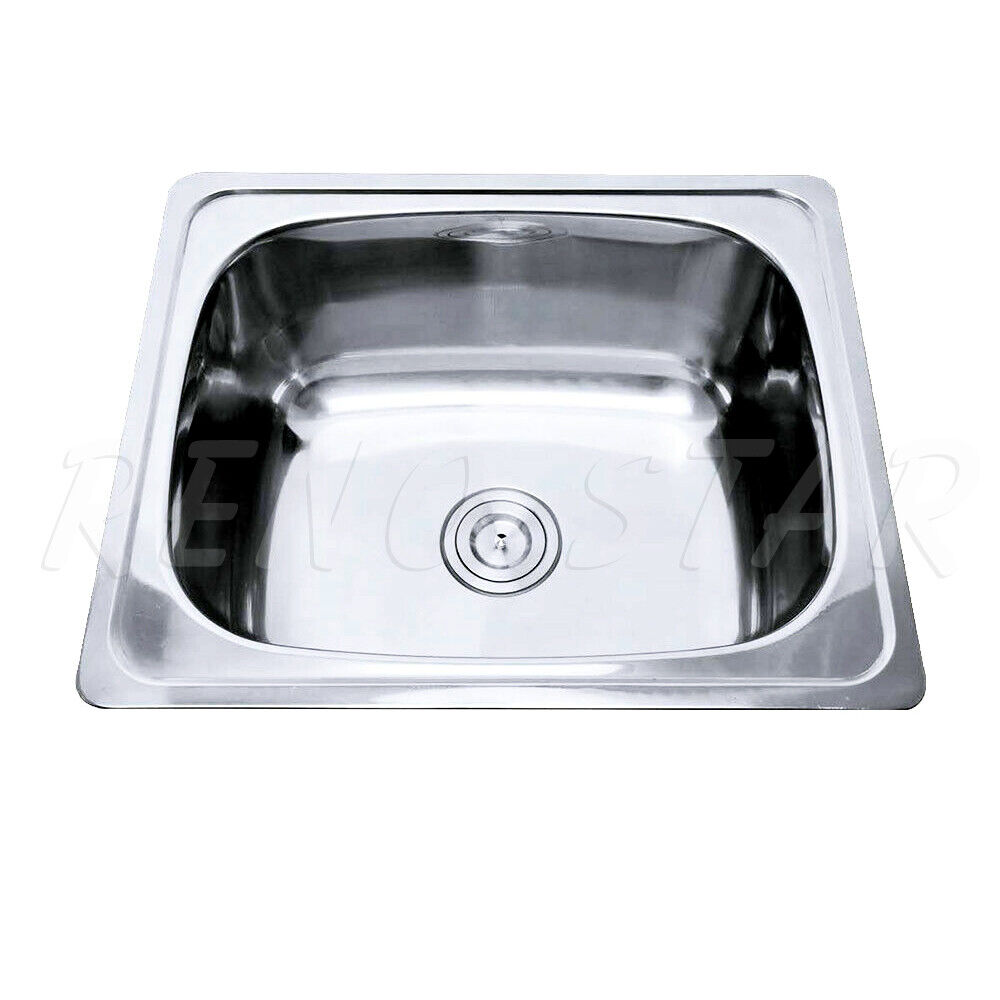610 510 250mm Sink Drop In Stainless Steel Single Bowl Round Corner Ebay