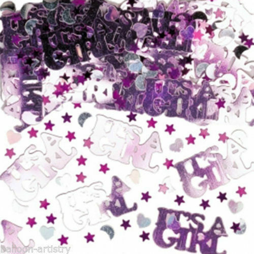 Pink Its a Girl Party Decorations 14g Bag Baby Shower Foil Table Confetti