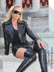 Lederjacke-Leder-Jacke-Schwarz-Kurz-Biker-Style-Massanfertigung