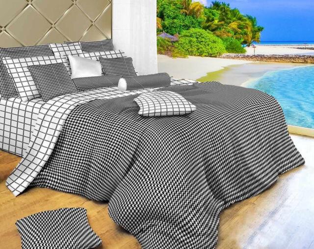 Dolce Mela Dm497q 6 Piece Bedding Duvet, Black And White Check Queen Bedding