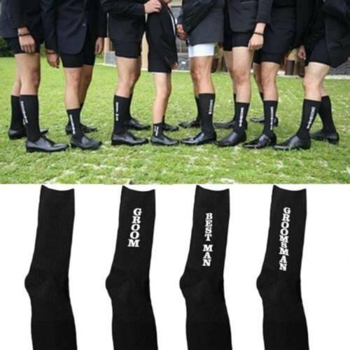 Men Groom Best Man Groomsman Letter Socks Fashion Styles Combed Cotton Socks