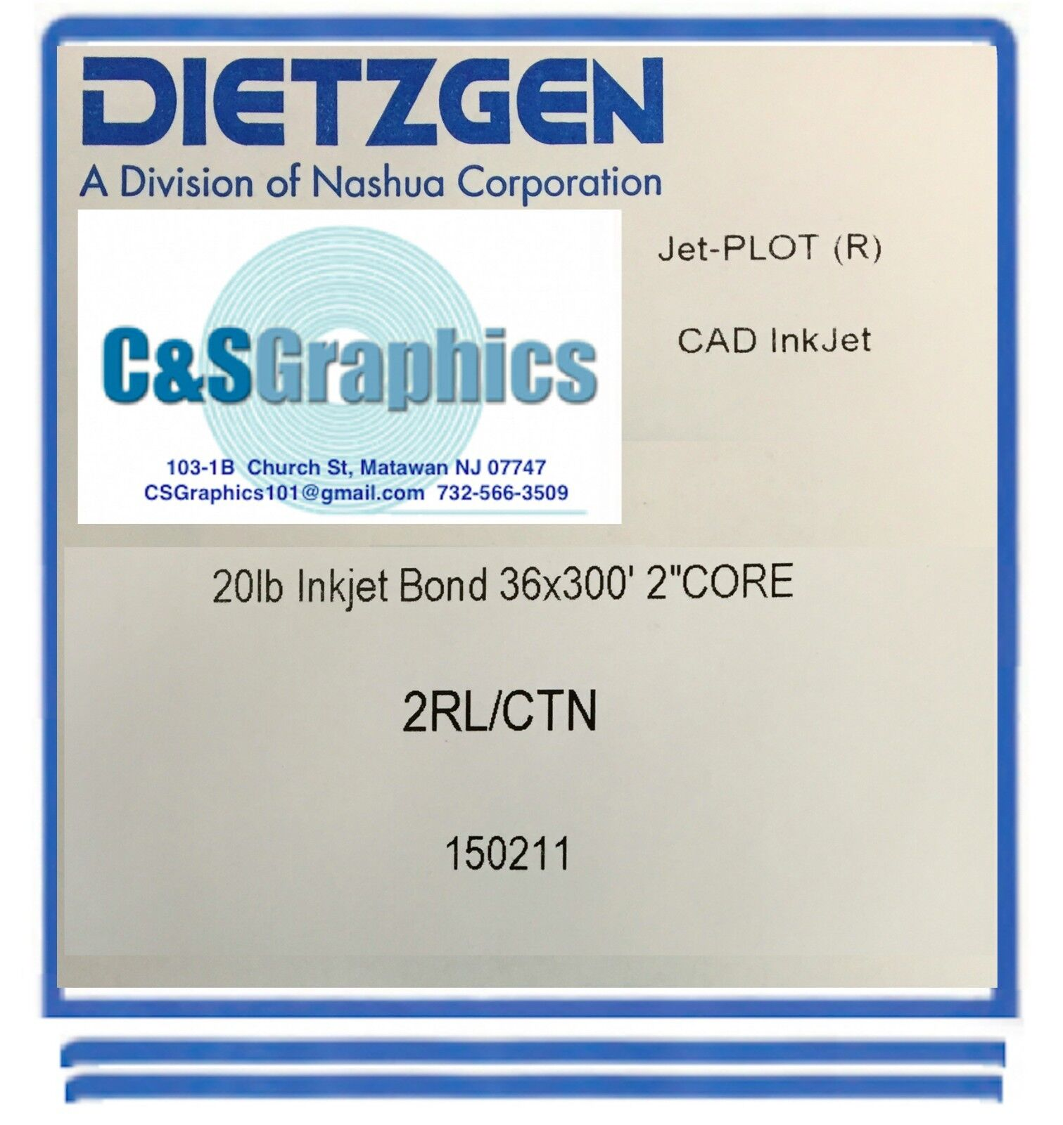 2 ROLLS 36'' X 300' 20lb Bond Plotter Paper