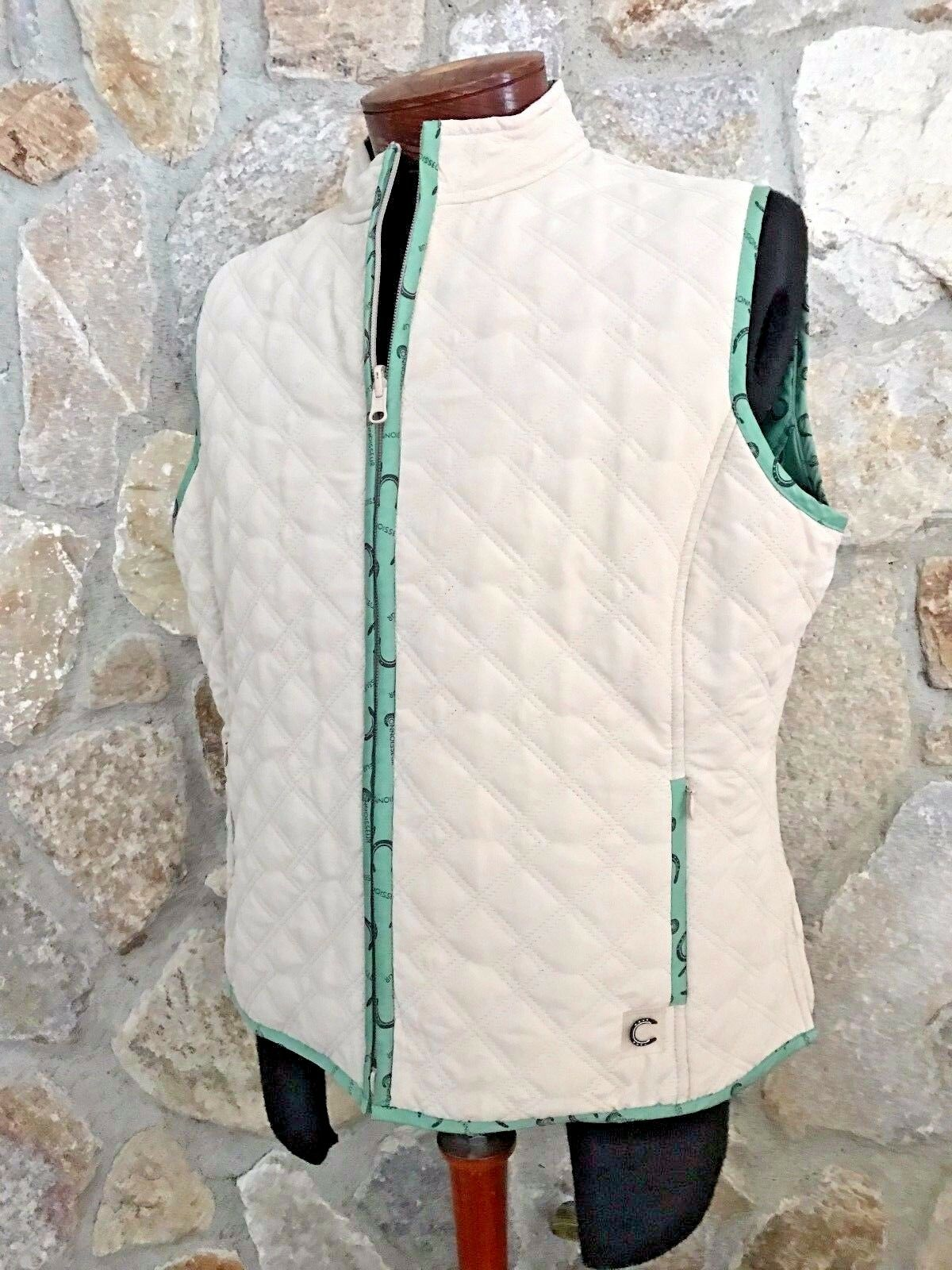 NEW Connoisseur Equestrian Reversible Quilted Zip Up Vest IVORY  GREEN  98.00 XL