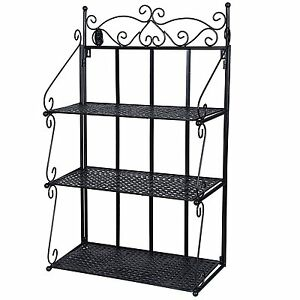3 tier metal bookcase shelf wall organizer storage display rack black shelves ebay. Black Bedroom Furniture Sets. Home Design Ideas