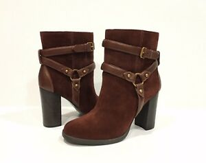 bc43b381875 Details about UGG DANDRIDGE HEELS HARNESS BOOTS MAHOGANY BROWN SUEDE -US  SIZE 7 -NEW