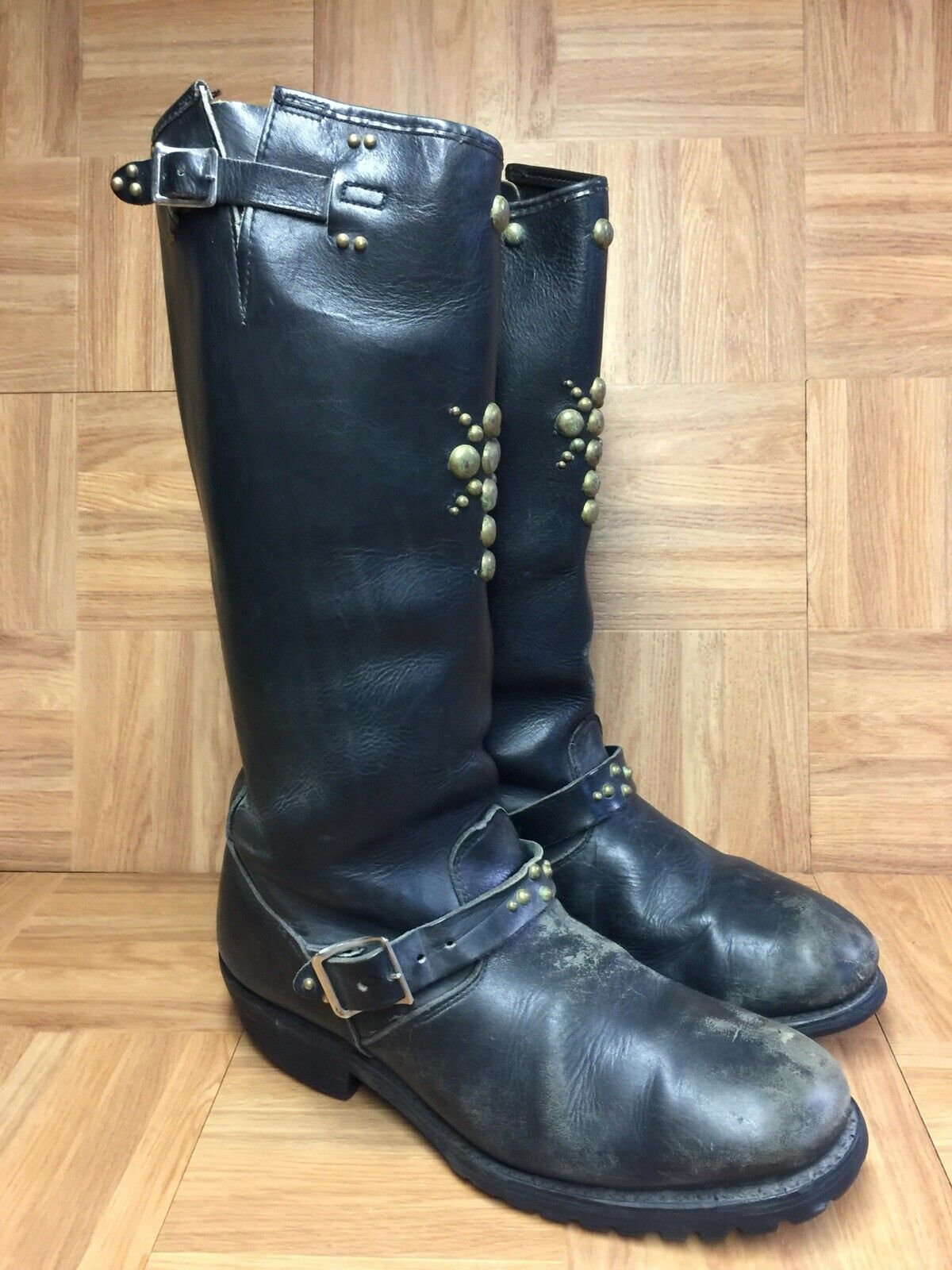 VNTG Matterhorn Studded Biker Motorcycle stivali Sz 10 Men's nero Leather Tall