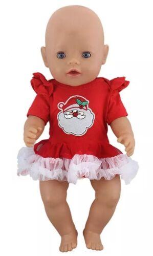 Kleid Baby Born/Sister NEU weiss/rot Puppenkleidung zb Weihnachten 43 cm