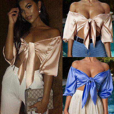 36d0f0d98e6 Club Women's Satin Silk Tie Knot Crop Top Ladies Front Flared Sleeve Plunge  Neck