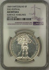 1869-Zug-Switzerland-5-Francs-Silver-Coin-Swiss-Shooting-Thaler-NGC-AU-Details