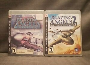 Lot-2x-PS3-Video-Games-Blazing-Angels-Squadrons-amp-Secret-Missions-of-WWII-1-amp-2