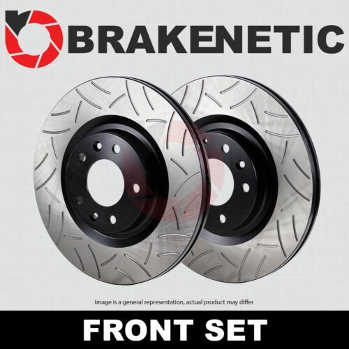 FRONT SET BRAKENETIC PREMIUM GT SLOTTED Brake Disc Rotors EVO BNP46064.GT