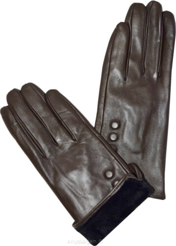 New Ladies dressy Leather Gloves Winter Gloves Lined Leather Gloves Guantes BNWT