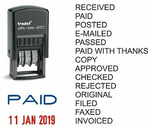 DATE RUBBER STAMP PAID POSTED RECEIVED E-MAILED COPY SELF-INKING TRODAT 4850