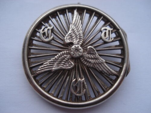 1907 C.T.C. CYCLISTS TOURING CLUB SILVER MEMBERSHIP DISC HOLDER PIN BROOCH