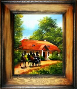 Carriage-Yard-Horse-Painting-Handmade-Oil-Picture-Frame-G16870