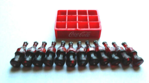 Coca Cola Mini Case and 12 Bottles Plastic Dollhouse Size