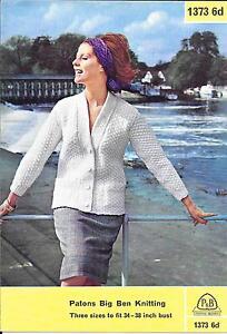cc86942f6 Image is loading Vintage-Ladies-Knitting-Pattern-Cardigan-Pockets-Aran-34-