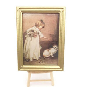 1-12-Dollhouse-Miniature-Furniture-Oil-Painting-Girl-With-Cat-Gold-Frame-7-4cm