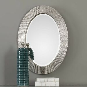 Antique Silver 34h Oval Bathroom Vanity