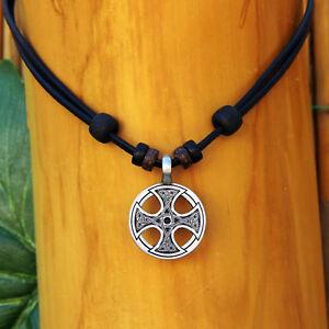Halskette-Lederhalskette-Lederkette-Kelten-Wikinger-Kreuz-Herren-Damen-Thor-Odin