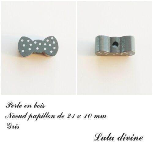 Gris Perle plate Noeud papillon Perle en bois de 21 x 10 mm