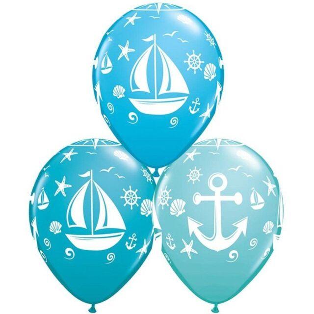 "24 NEW Nautical Print 11"" Latex Balloons FREE SHIPPING"