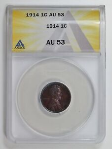 Small Cents Lincoln, Wheat Ears Reverse 1914  ANACS AU-53