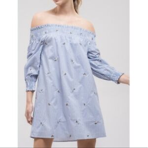 J.O.A. sz S off the shoulder smocked striped dress blue white preppy floral NEW
