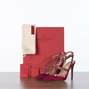 VALENTINO-995-New-Rockstud-Ankle-Strap-Pumps-In-Camelia-Suede