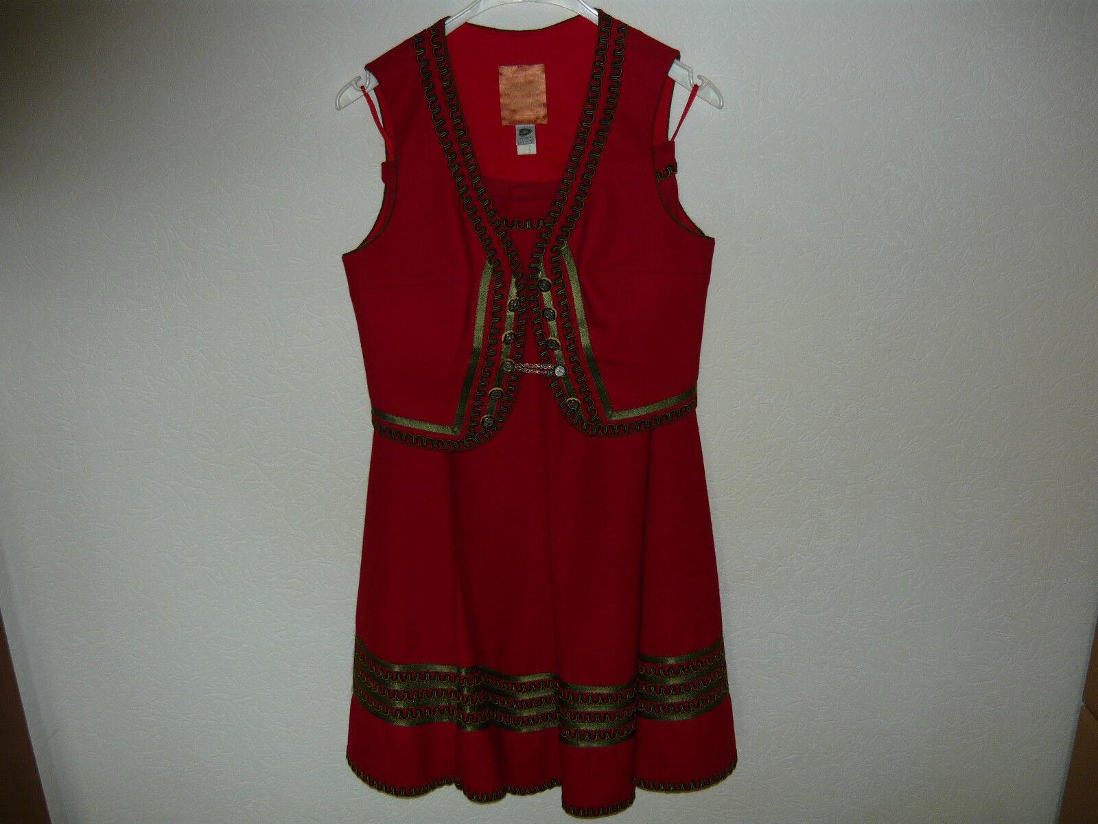Trachtenrock mit Weste, rot,Größe 38