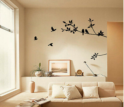 New Black PVC Mural Bird Tree Removable Vinyl Wall Decal Stickers Home Decor Art