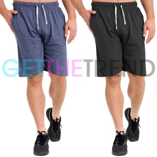 Confezione da 2 Pantaloncini da uomo in jersey Top Bottom Pigiama a righe laterali Nightwear Lounge Pants
