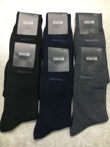 6 Pairs HUGO BOSS MEN SOCKS BLACK//NAVY//GREY US Size 7-9