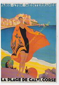 CP Poster Chemins Iron P. L.M.Corsica La Beach Calvi Edit Nugeron R24