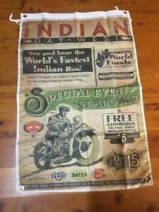 Poster bar mancave flag Indian motor bike USA shed poolroom wall hanging garage