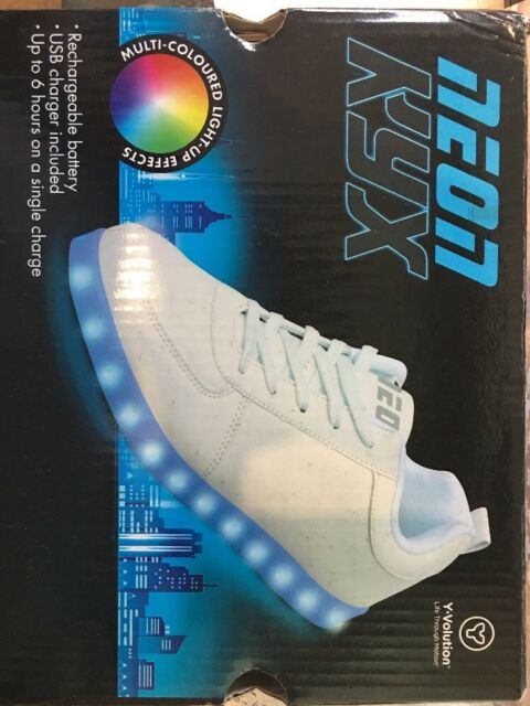 8969e159 Neon KYX White Lace Up Low Top Light Up Chargeable Sneaker Youth Size 12