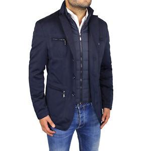 size 40 c1db0 e033f Dettagli su Giubbotto Uomo Elegante Giubbino Invernale Slim Fit Giacca Blu  Sartoriale Gilet
