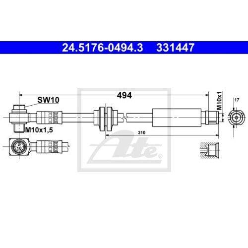 1 Flexible UAT 24.5176-0494.3 Convient Pour Opel Saab Vauxhall Chevrolet