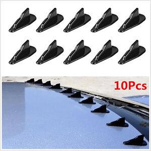 Universal 10 Pcs Car Black Pp Roof Shark Fins Spoiler Wing