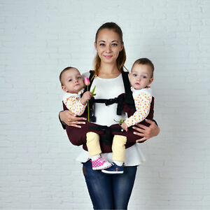 Image is loading Burgundy-twin-baby-carrier-for-baby-twins