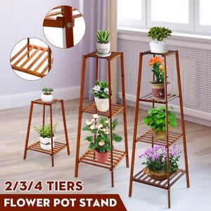 2-3-4Tiers-Flower-Plant-Pot-Stand-Wooden-Shelf-Holder-Rack-Garden-Indoor-Decor