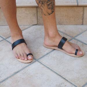 d100eca4f mens leather toe ring Greek sandals stylish black gladiator strap ...
