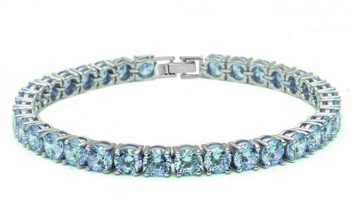"4.5MM Round 14.5CT Aquamarine .925 Sterling Silver Bracelet 7.25/"""