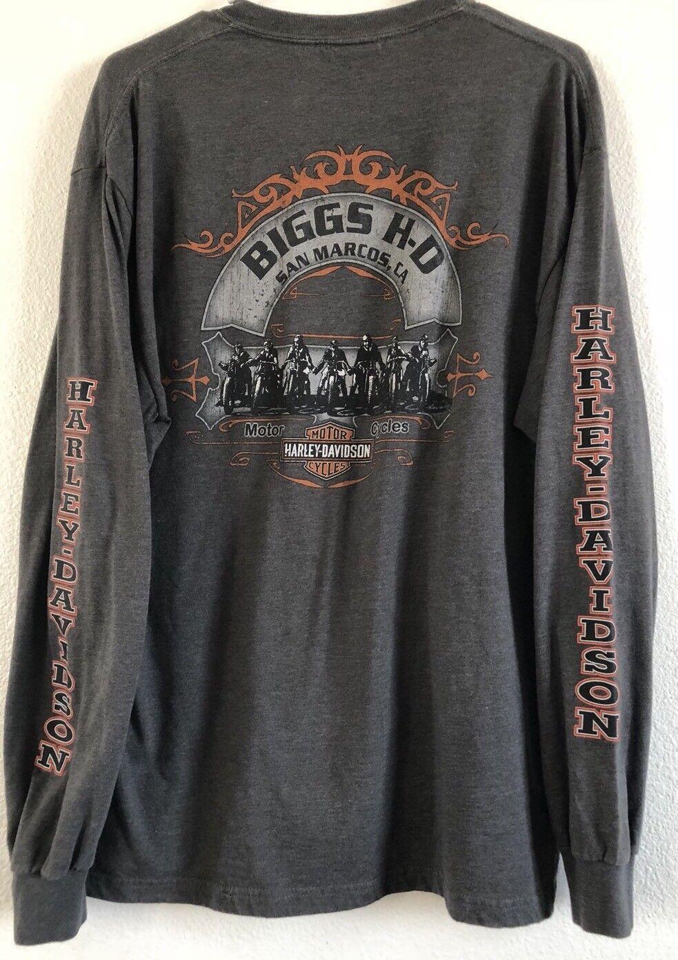 VTG.Men's BIGGS HARLEY DAVIDSON Motorcycle San Marcos  CA Pocket Long Sleeve  L