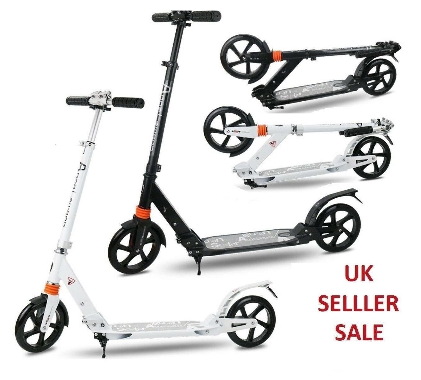 Folding Scooter Bike Big Wheel Scooter W  Suspension Adult Commuter With Grips B